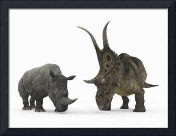 An adult Diabloceratops compared to a modern adult