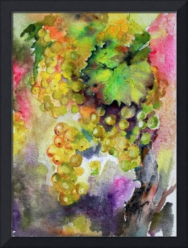 Cognac Grapes Watercolor by Ginette Callaway