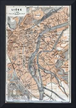 Vintage Map of Liège Belgium (1905)