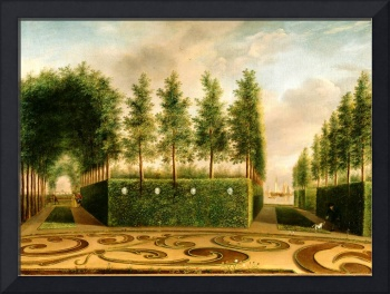 Johannes Janson A Formal Garden 18th Century Dutch