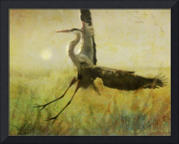 heron flight in fog
