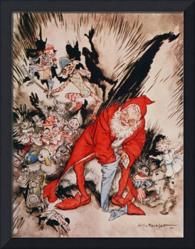 Father Christmas filling Stockings by Rackham