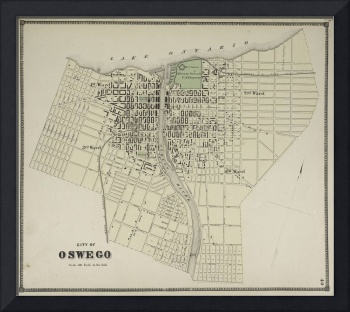 Vintage Map of Oswego NY (1867) 2