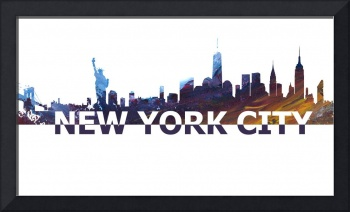 New York City Scissor Cut Skyline Giant Text