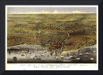 1874 Chicago, IL Bird's Eye View Panoramic Map