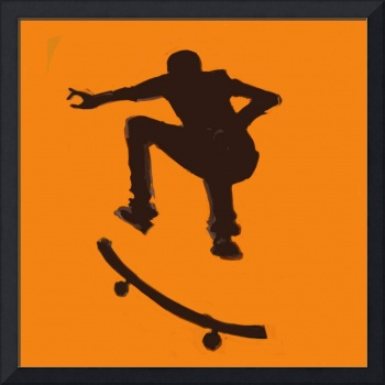 Skateboarder 2 . orange brown (c)