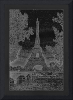 Eiffel Tower Seine River Bridge Neg Enhanced Photo