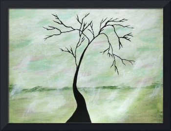 Alone I Waited Tree Silhouette From Painting
