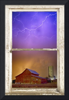 Colorful Storm Rustic Farm House Window View