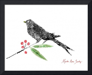 Decorative Black Bird and Red Berries on White R2