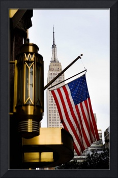 Empire State and the US Flag, New York