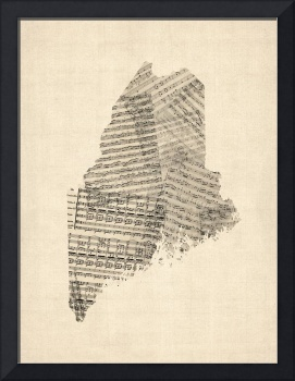 Old Sheet Music Map of Maine