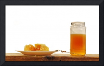 Honeycomb and Honey Jar on Wooden Table, Isolated