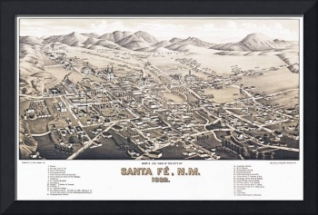 Santa Fe New Mexico Panoramic Map