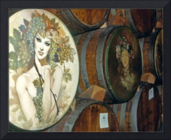Woman on Wine Barrel