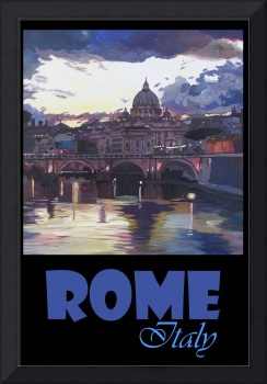 Rome Italy Retro Travel Poster