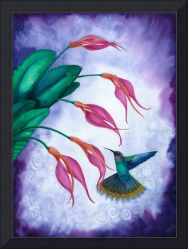 Hummingbird and Orchid Watercolour