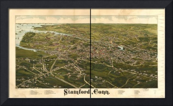 1883 Stamford, CT Bird's Eye View Panoramic Map