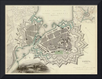 Vintage Map of Geneva Switzerland (1841)