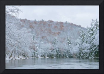 Clarion River, Red Leaves and Snow