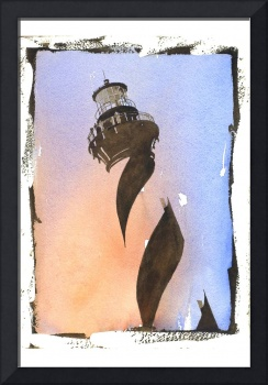 Cape Hatteras watercolor painting with faux photo