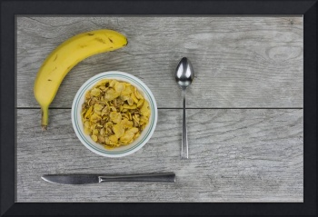 Breakfast Cereal, Banana and Utensils on Pale Gray