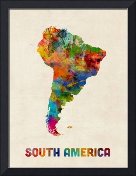 South America Watercolor Map