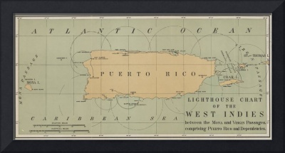 Vintage Lighthouse Map of Puerto Rico (1898)