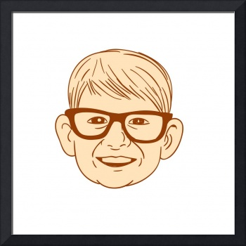 Head Caucasian Boy Smiling Big Glasses Drawing
