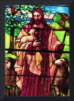 Jesus The Good Shepherd in stained glass