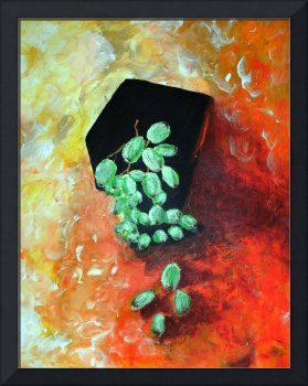 Black vase with grapes