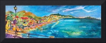 Italian Riviera Watercolor Painting by Ginette