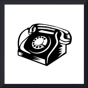 Telephone Vintage Woodcut