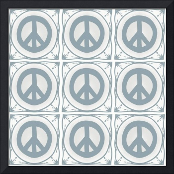 Peace symbol Delft Blue effect tiles