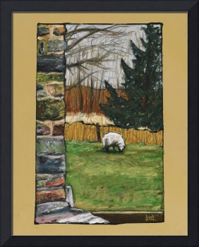 Sheep and Stone Wall at Broken Barn