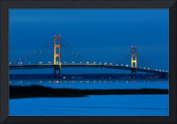 Mackinac Bridge on a Winter Evening
