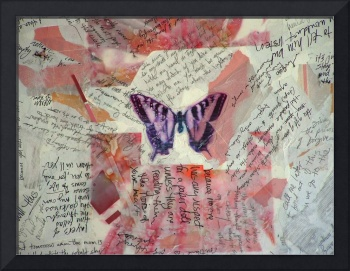 Graffiti Butterfly Art with Words Text and Random