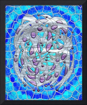 Silver on Blue Stained Glass