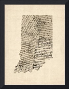 Indiana Map, Old Sheet Music Map