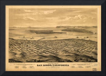 1876 San Diego, CA Bird's Eye View Panoramic Map