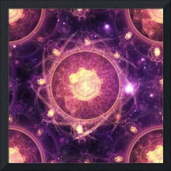 Gold and Royal Purple Fractal Mandala of the Stars