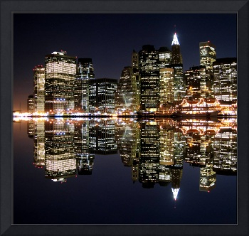 Lower Manhattan Aglow in the Dark Night Sky