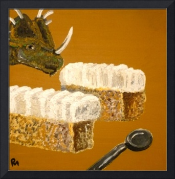Styracosaurus Contemplating Two Cakes