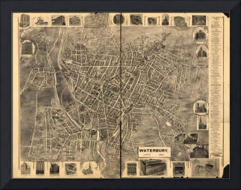 1899 Waterbury, CT Bird's Eye View Panoramic Map
