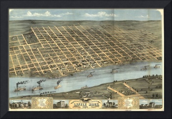 Vintage Pictorial Map of Little Rock AR (1871)