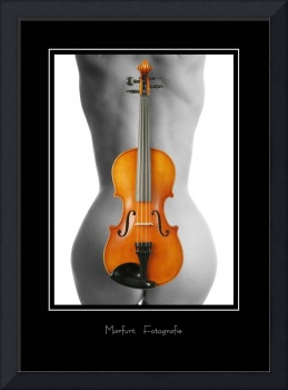 Violin behind a naked woman's back