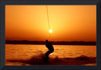 Wakeboarder at Sunset