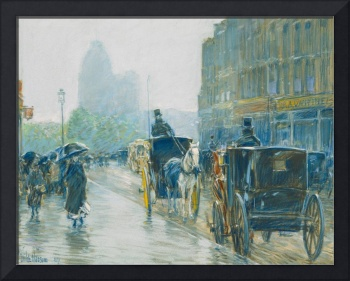 Horse Drawn Cabs, New York by Childe Hassam