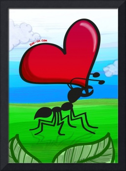 Ant Carrying the Love's Heart