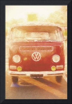 Artistic digital drawing of a VW Combie campervan